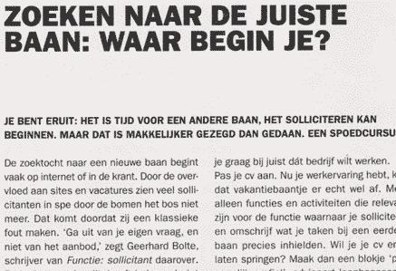 Zoeken naar de juiste baan. Elsevier